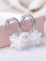 cheap -2016 Korean Women 925 Silver Sterling Silver Jewelry Long Crystal Flower Hoop Earrings Drop Earrings 1Pair
