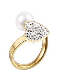 Anneaux Perle Imitation de diamant Couche double Croisé Mode Ajustable Adorable Pierres de naissance Argent Doré BijouxMariage Soirée