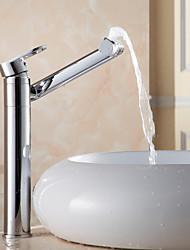 Недорогие -Современный По центру Широко распространенный Вращающийся Керамический клапан Одной ручкой одно отверстие Хром, Ванная раковина кран