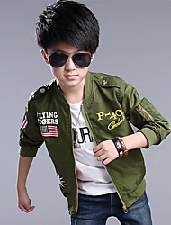 cheap -Boys' Daily Print Suit & Blazer,Cotton Spring Fall Long Sleeve Black Navy Blue Army Green Blue