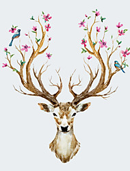 cheap -NEW Creative Sika Deer Living Room Bedroom Background Wall Stickers Fashion Cartoon Animals Wall Decals