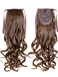 cheap -Long Curly Wave Tail 22inch 55cm 100g #12 Brown Cheap Synthetic Hair Extensions Drawstring Ponytails