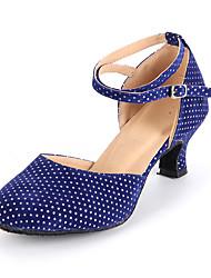 Women's Dance Shoes Suede Suede Modern Heels Heel Practice / Indoor Blue / Gold / Fuchsia Customizable