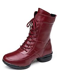"""economico -Da donna Danza moderna Di pelle Ballerine Da allenamento Esibizione Piatto Nero Rosso Sotto 1 """" Non personalizzabile"""