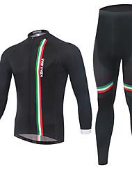 cheap -KEIYUEM Long Sleeves Cycling Jersey with Tights - Black British Bike Clothing Suits, 3D Pad, Thermal / Warm, Quick Dry, Breathable