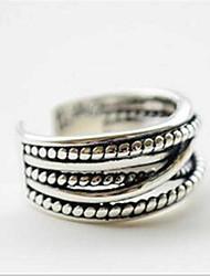 Homens Mulheres Feminino Anéis Grossos Moda Ajustável Aberto Prata de Lei Jóias Para Diário