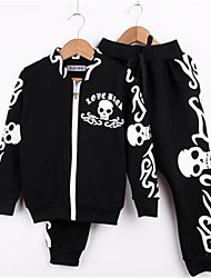 cheap -Boys' Daily Clothing Set, Cotton Spring Fall Long Sleeves Black
