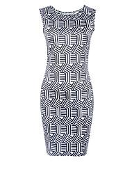 Damen Bodycon Kleid-Ausgehen Retro / Street Schick Druck Rundhalsausschnitt Mini Ärmellos Schwarz Polyester Sommer