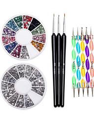 economico -chiodo 12 colori delle pietre preziose rotella che punteggiano penna set&set di spazzole