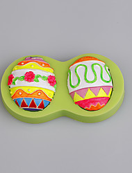 3D Easter Eggs Silicone Mould Fondant Cake Decorating Tools for Chocolate Cupcake Candy Polymer Color Random