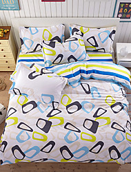 Duvet Cover Sets Solid 4 Piece Poly/Cotton Reactive Print Poly/Cotton 4pcs (1 Duvet Cover, 1 Flat Sheet, 2 Shams) (If Twin size, only 1