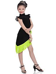 cheap -Latin Dance Outfits Children's Performance Cotton Tassel Short Sleeve Natural Top Skirt