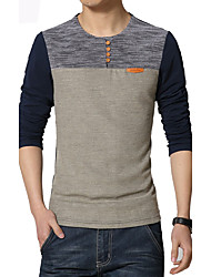 cheap -Men's Fashion Patchwork Buttons Decorative Casual O Neck Slim Fit Long-Sleeve T-Shirt,Polyester/Plus Size