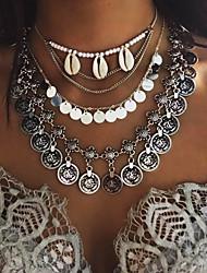 Feminino Colares com Pendentes colares em camadas Conchas Concha Liga Moda Multi Camadas Prata Dourado Jóias Para Festa Diário Casual