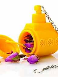 cheap -1Pc Tea Sub Yellow Submarine Loose Leaf Herbal Spice Infuser Silicone Spice