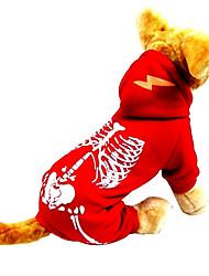 baratos -Gato Cachorro Fantasias Roupa Macacão Roupas para Cães Caveiras Preto Vermelho Náilon Veludo Cotelê Ocasiões Especiais Para animais de