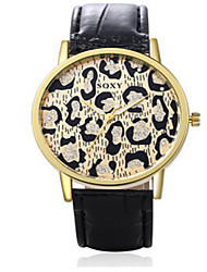 SOXY® Lady's Black/Brown Leather Band Leopard Case Analog Quartz Dress Watch(NO Water Ressistant)