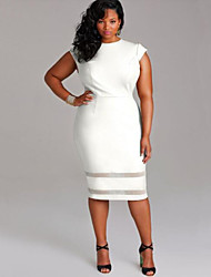 cheap -Women's Plus Size Simple Sheath Dress - Solid Colored
