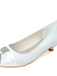 preiswerte -Damen Schuhe Satin Frühling Sommer Pumps Hochzeit Schuhe Kitten Heel-Absatz Peep Toe Strass für Hochzeit Party & Festivität Silber Rot