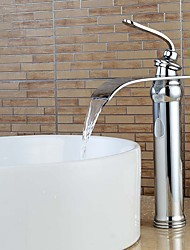 High Quality Chrome Waterfall Bathroom Sink Faucet -Sliver