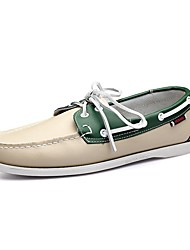 cheap -Men's Shoes Leather Spring Fall Comfort Boat Shoes Walking Shoes Brown Red Green
