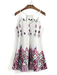 Damen Hülle Kleid-Lässig/Alltäglich Retro / Street Schick Druck Gurt Mini Ärmellos Weiß Polyester Sommer