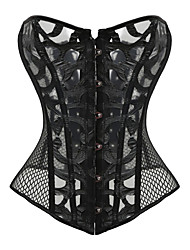 cheap -Women's Overbust Corset Nightwear,Sexy Jacquard-Thin Polyester Black