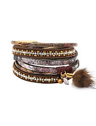 Fashion Women 3 Rows Stone Set Wrap Leather Bracelet