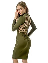 Moulante Robe Aux femmes Soirée simple,Couleur Pleine Col Ras du Cou Au dessus du genou Manches Longues Vert Polyester Printemps
