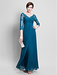 cheap -Ball Gown V-neck Floor Length Chiffon Mother of the Bride Dress with Beading Lace by LAN TING BRIDE®