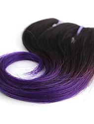 Cappelli veri Brasiliano Ciocche a onde capelli veri Ondulati Extensions per capelli 1 pezzo T1B / viola / azzurro
