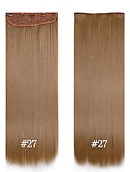 billige -syntetisk klip i hair extensions fiber glat hår 24inch # 27 60cm 120g 5 klip syntetisk lang wowan hår klippet i