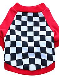 preiswerte -Katze Hund T-shirt Hundekleidung Geometrisch Schwarz Rot Baumwolle Kostüm Für Haustiere Herrn Damen Modisch