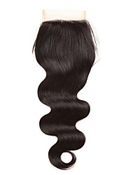 "cheap -1 Piece 4""x4"" Brazilian Body Wave Lace Weave Closure Hair 100% Remy Hair Bleached Knots Top Closures"