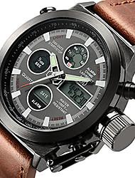 Недорогие -Муж. Наручные часы электронные часы Японский Кожа Коричневый 50 m Защита от влаги Будильник Календарь Аналого-цифровые Роскошь - Белый Черный Два года Срок службы батареи / Нержавеющая сталь