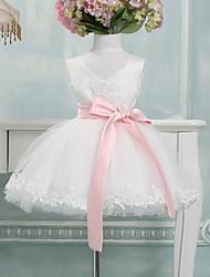 cheap -Ball Gown Knee Length Flower Girl Dress - Tulle Sleeveless V-neck with Bow(s) by Lovelybees