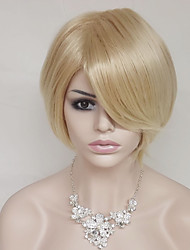 cheap -Synthetic Wig Curly / kinky Straight Blonde Bob Haircut / Asymmetrical Haircut / With Bangs Synthetic Hair Natural Hairline Blonde Wig Women's Short Capless Light Blonde