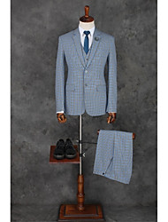 cheap -Pool Checkered / Gingham Standard Fit Polyester Suit - Notch Single Breasted Two-buttons