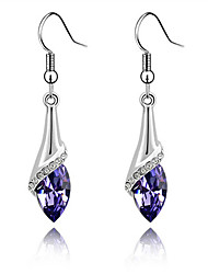 cheap -Super Bright Austrian Crystals Angel Eyes Teardrop-shaped Sterling Silver Amethyst Earrings