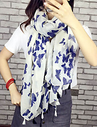 cheap -Literary Cotton Long Shawl Large Size Women Butterfly Print Scarves