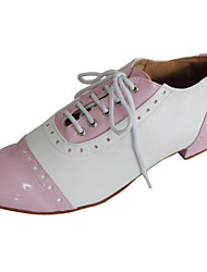 cheap -Women's Swing Shoes Leatherette Patent Leather Leather Heel Indoor Performance Lace-up Low Heel White Black Red Pink Customizable