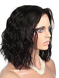 cheap -Unprocessed Full Lace Lace Front Wig Brazilian Hair Natural Wave 130% Density African American Wig Middle Part Short Women's Human Hair