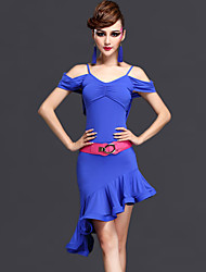 cheap -Latin Dance Dresses Women's Performance Rayon / Chinlon Ruched 2 Pieces Dark Purple / Fuchsia / Royal Blue Short Sleeve