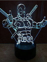 cheap -Deadpool Touch Dimming 3D LED Night Light 7Colorful Decoration Atmosphere Lamp Novelty Lighting Light