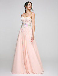 cheap -A-Line Sweetheart Floor Length Tulle Prom Formal Evening Dress with Beading Crystal Detailing by TS Couture®