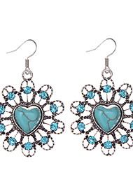 cheap -Vintage Brand Design Turquoise Earrings Crystal Rhinestone Bohemia Style Heart Earrings Jewelry For Woman
