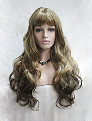 cheap -fashion ombre golden brown to light brown mix skin top curly wavy long bangs wig