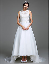 A-Line Jewel Neck Court Train Organza Satin Wedding Dress with Appliques Button Ruche by LAN TING BRIDE®