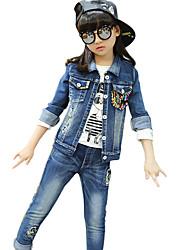 economico -Jeans / Completo Girl Casual Collage Cotone Primavera / Autunno Blu