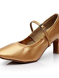 SUN LISA Women's Dance Shoes Pigskin Latin / Modern / Salsa Satin Heel Black / Brown Customizable